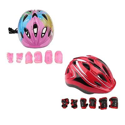Sharplace 2 x Kit de 1pc Casque Protection de Vélo Skate Rollers Patin à Roulettes Avec 2pcs Genouillères , Coudières , Garde Poignets