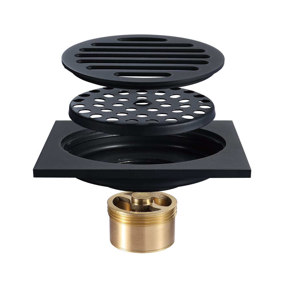 Tile Insert Square Shower Floor Drain 4-Inch Pure Cupper Black Grate Strainer With Removable Cover, Anti-Clogging For Kitchen Bathroom Washroom Garage Basement by YJZ (Image #1)