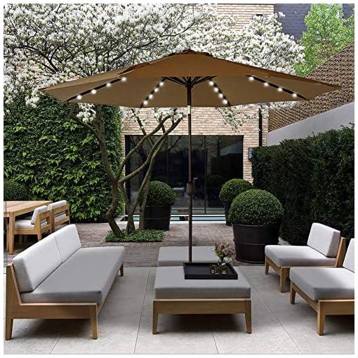 Garden and Outdoor Sundale Outdoor Solar Powered 32 LED Lighted Patio Umbrella Table Market Umbrella with Crank and Push Button Tilt for… patio umbrellas