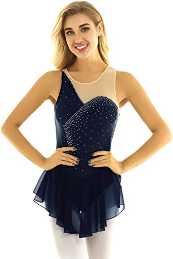 iixpin Maillot de Patinaje Artística para Mujer Vestido Brillante ...