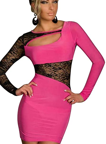 Keral Damen Langärmelige Splice Nightclub mini Spitze Kleid: Amazon ...
