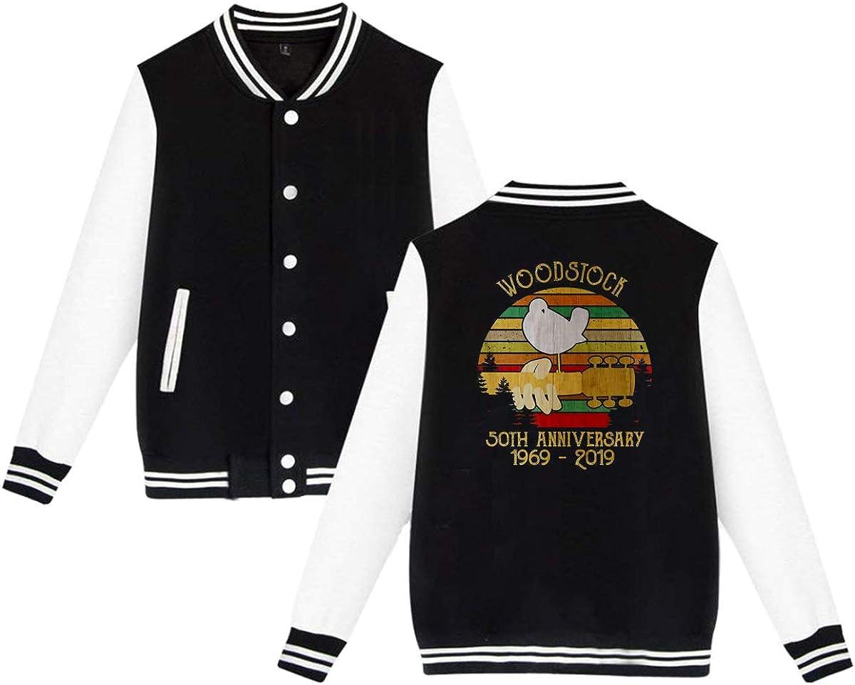 BAOVSYC Woodstock Anniversary Unisex Baseball Jacket Varsity Jacket Black