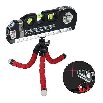 Wasserwaage Qooltek Laser Wasserwaage Mehrzweck, vertikal und 45 Grad Wasserwaage, Wasserwaage mit Octopussen Stativ,Laser-Eb