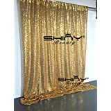 ShinyBeauty 6FTX6FT Gold Shimmer Sequin Fabric Photography Backdrop