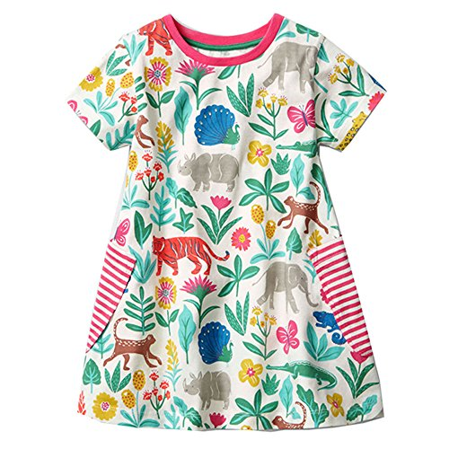 Little Girls Dresses Crew-neck Cotton Animal Applique Kids