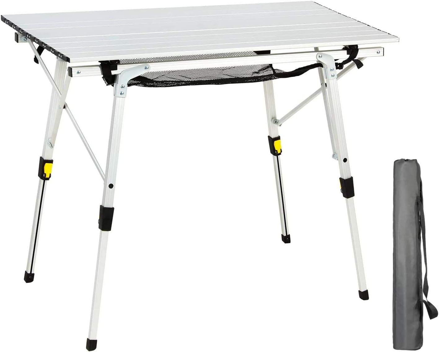 Ever Advanced Mesa Plegable de Aluminio Ligero para 4 Personas Altura de la Pierna Ajustable Mesa Compacta con Bolsa de Transporte para Camping Picnic ...