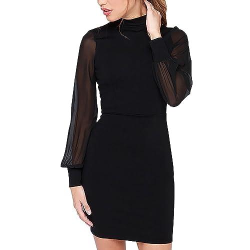 Dolamen Donna Vestiti, Girocollo stile retrò, Slim Fit lungo Vescovo manicotto vestito Backless, per...