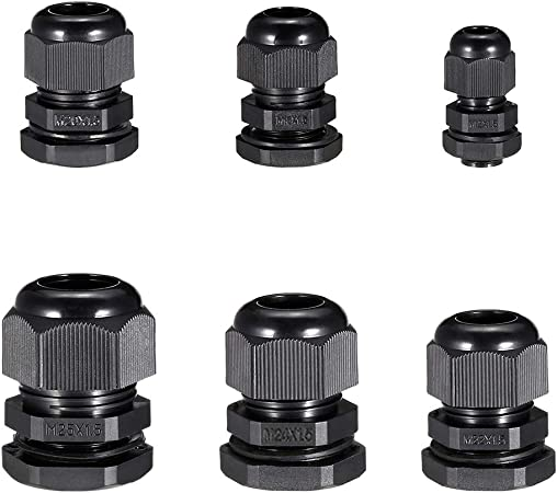 10 x 9-14mm Black Cable Gland M20 IP68