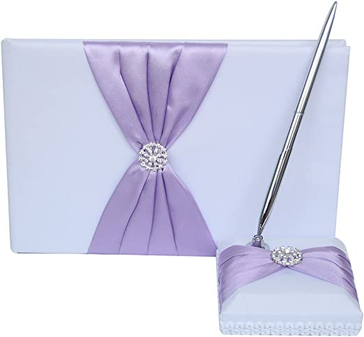 Hardcover with Stain Ribbon Bow and Rhinestone Heart Signs for Rustic Wedding Ceremony Party Favor-Lavender 72 Pages Guest Book and Pen Set Holder
