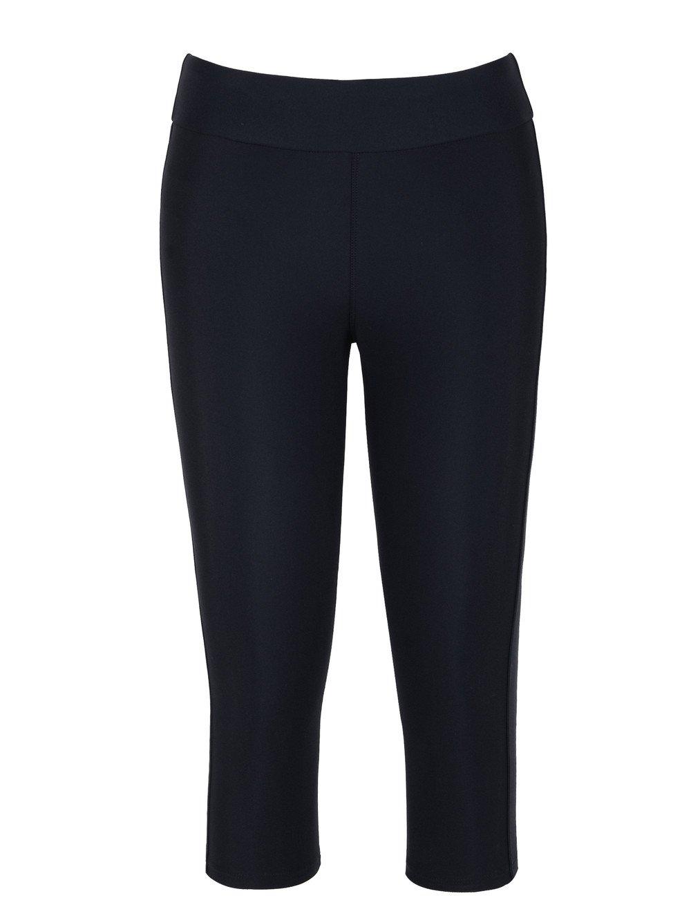 Hilor Women's UV Rash Guard Pants Crop Swim Leggings Sports Capri Tights 22 Black 1