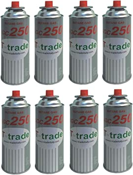 8 unidades – Cartucho de gas GLP de 250 g. Art. KCG250. Ideal soldador, soplete o hornillo. Compatible con Campingaz, Brunner. Producto que funciona ...