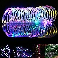 Samoleus 12M 100 LED Lichtschlauch Solar, Wasserdicht IP65 Solar Lichterkette Außen, weihnachtsbeleuchtung Aussen für Party und Weihnachten (Farbe)