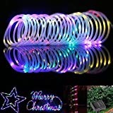 BlueFire Solar Rope Lights, 12M/39ft 100 LEDs Automatically Turn ON/OFF 2 Lighting Modes Decorative Lights for Outdoor/Indoor/Garden/Tree Christmas Wedding(Color)