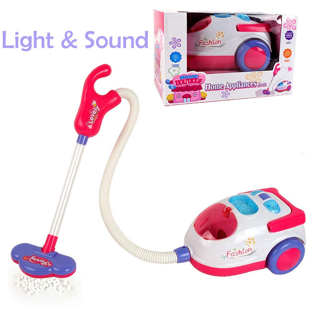 Deerbb Toy Vacuum Cleaner Light Up and Sound for Toddler Kids, Child Cleaning Push Pull Pretend Play Set for Baby 1 Years Old Children