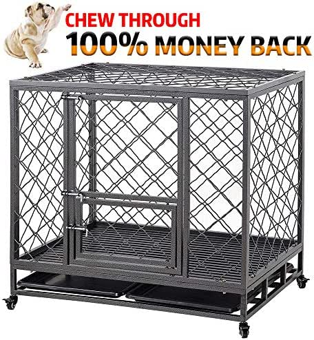 LUCKUP Empire Heavy Duty Dog Cage Strong Metal Kennel and Crate for Medium and Large Dogs, Pet Playpen with Four Wheels,Easy to Install,42INCH, Black …