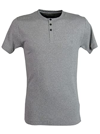 d37636c11c4 Mens French Connection FCUK T-Shirt Grandad Collar - Grey: Amazon.co.uk:  Clothing