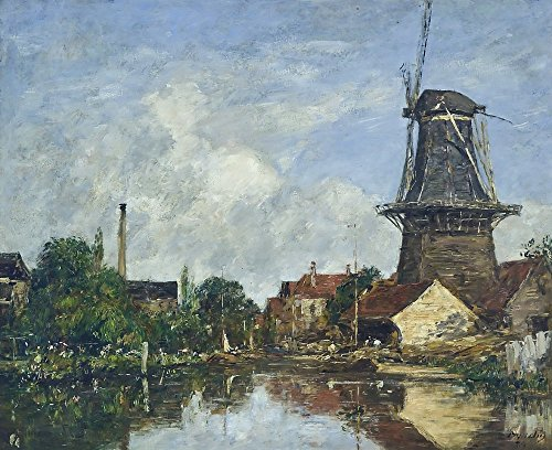 - The Museum Outlet - River Scene with Windmill at Dordrecht, Holland, 1884, Stretched Canvas Gallery Wrapped. 11.7x16.5