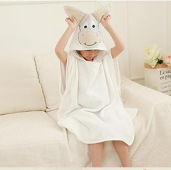 KK&MM Bebé ni?os batas de ba?o con capucha toalla de algodón material toallas absorbente de dibujos animados recién nacido , 0-10 years old , white: Amazon.es: Hogar