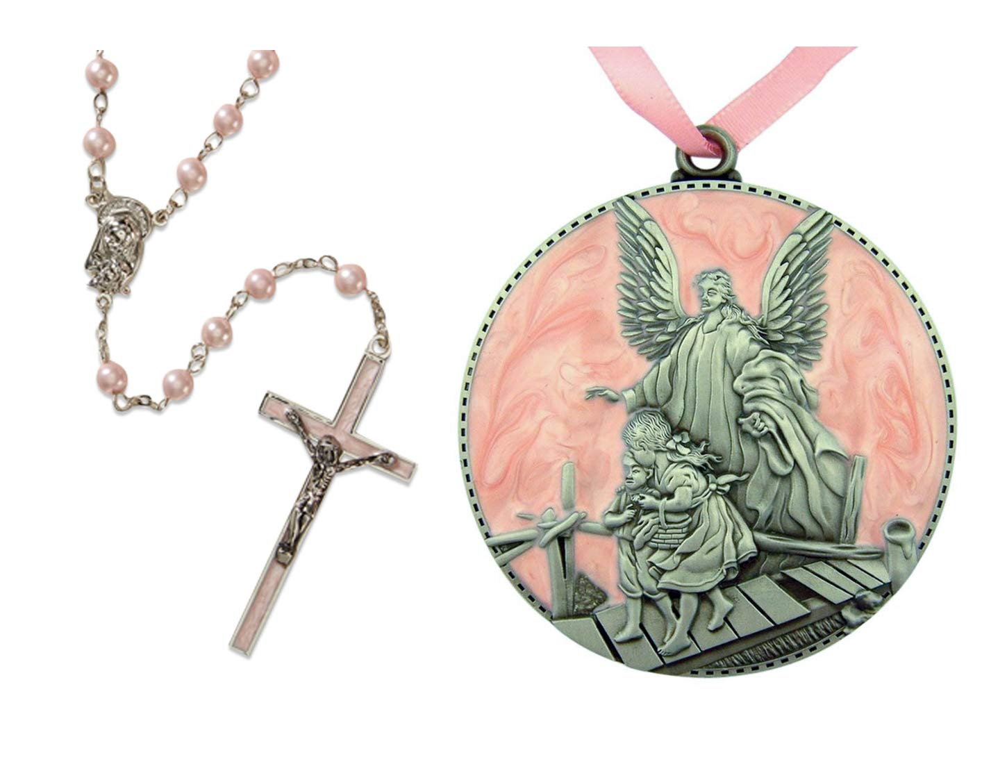 Baptism Gifts for Baby Girl Set of Pink Rosary and Guardian Angel Crib Medal
