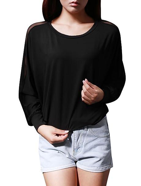 Allegra K Mujer Panel De Malla Chaqueta Camisas Manga Murciélago Top Holgado Blusas - sintético,