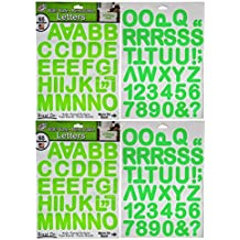Large Alphabet Numbers and Letters Stickers Perfect for Businesses, Walls, Painted Surfaces, Foam Boards, Poster Boards and School Projects! (2 Pack Neon Green)