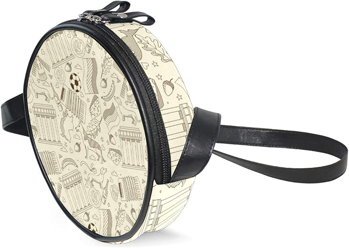 Crossbody Bag Germany Retro Dog Pattern Womens Casual Phone Pouch Round Shoulder Bag