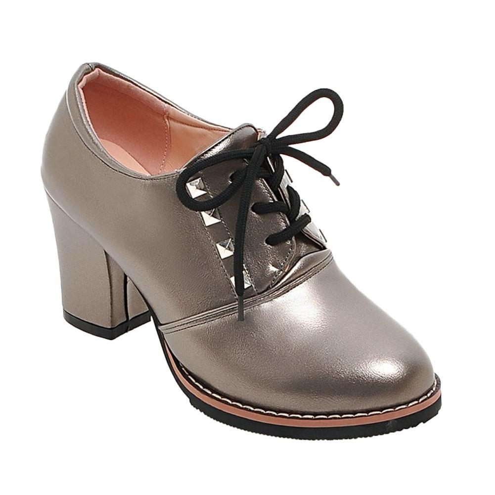 Mee Shoes Damen chunky heels runde kurzschaft Schnuuml;rhalbschuhe34 EU|Taupe