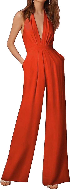 Freely Womens Sleeveless Colortone Classy Halter Romper Jumpsuit