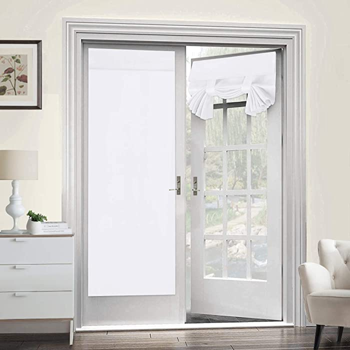 """Room Darkening French Door Curtains for Tricia Window Door Curtains Thermal Curtain/Drape/Drapery Single Door Curtain (26"""" Width x 68"""" Length, Pure White, 2 Panel)"""