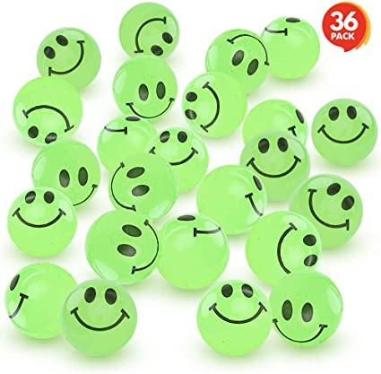 Green Rubber Glow In The Dark Kids Bouncing Balls Party Favors Prizes Gifts