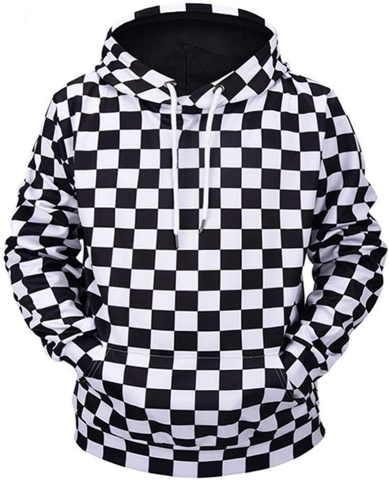 PU Frühling und Herbst New Outdoor Sports Sweatshirts Männer Kapuzenmantel Schwarz und Weiß Plaid Print Lose Trainingskleidung Sweatshirts,* L S