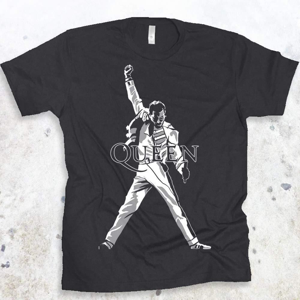 6ab59fdabbcef0 Amazon.com  QUEEN Freddie Mercury Legendary Pose Rock Band Mens T-shirt Size  S-4XL  Handmade