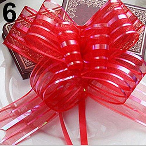 10 Pcs 50mm Organza Ribbon Pull Bows Wedding Party Car Decoration DIY Gift Wrap - Red Ameesi