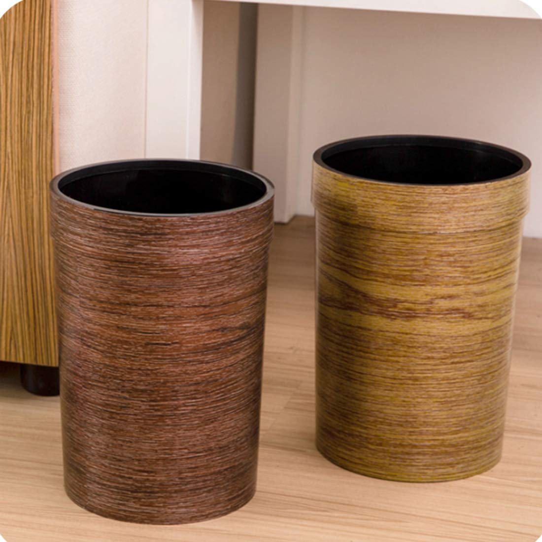 WOLFBUSH Trash Bin 9L Wood Grain Garbage Can Plastic Pressure Ring Waste Basket Without Lid (Coffee) by WOLFBUSH (Image #4)