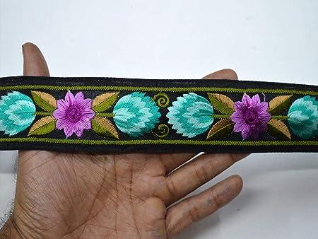 1 Yard-Wide Green Fabric Trim-Embroidered Floral Vine Design-Silk Fabric Trim-Silk Sari Border Trim-Crazy Quilt Trim-Green Silk Ribbon