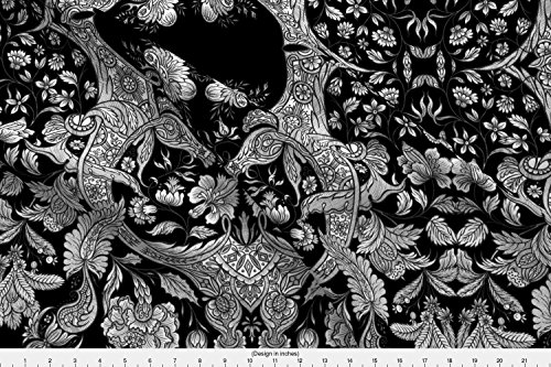 Spoonflower Chintz Fabric Dutch Sitsen ~ Anika ~ Black And White by Peacoquettedesigns Printed on Minky Fabric by the (Chintz Antique)
