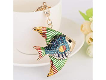 JKHGJUH Beautiful Diamond Tropical Fish Shape Keychain Handbag ... 39929ddb6