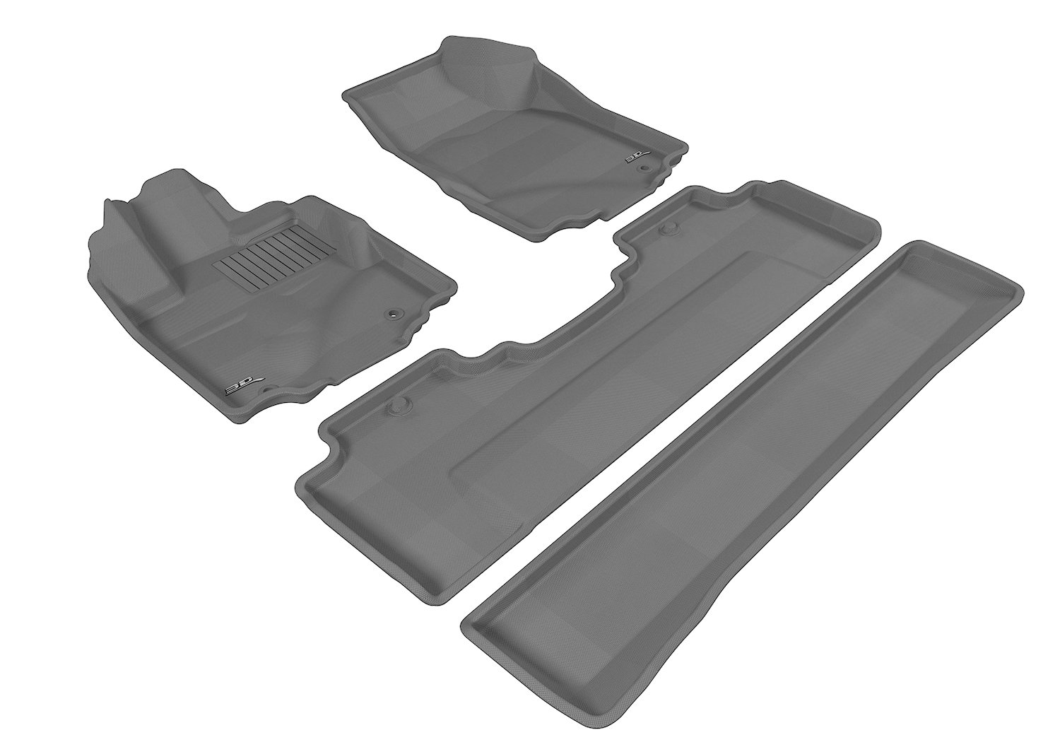 3D MAXpider Second Row Custom Fit All-Weather Floor Mat for Select Honda Ridgeline Models Gray Kagu Rubber