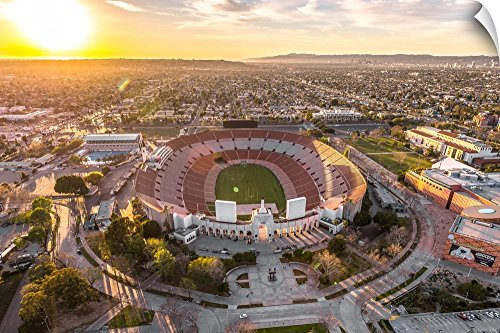 Canvas on Demand Copterpilot Photography Wall Peel Wall Art Print entitled Aerial View of Los Angeles Memorial Coliseum, California 24