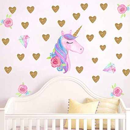 Beautyonline Unicorn Wall Stickers, Fantasy Girls Bedroom Wall Decor Wall  Decals Unicorn Cute and Removable Wall Decals Nursery Decal(Style 13)
