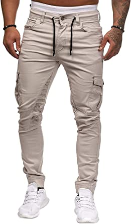 Onsoyours Pantalones de Hombre Casuales Chino Deporte ...