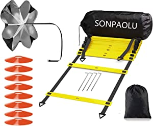SONPAOLU Agility Ladder & Speed Cones Training Set, for Speed Agility Training & Quick Footwork Exercise -Includes Agility Ladder with Carrying Bag, 4 Pegs,Resistance Parachute & 8 Sports Cones.