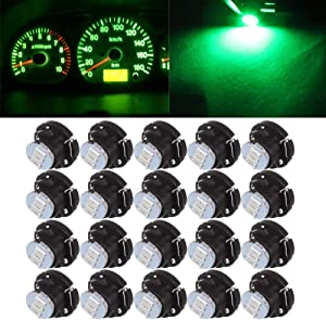 Frontl T5 NEO Wedge LED Dash Light Bulbs 3-3017-SMD Green A/C Climate Heater Controls Indicator Lights Instrument Panel Gauge Cluster Lights,20Pack