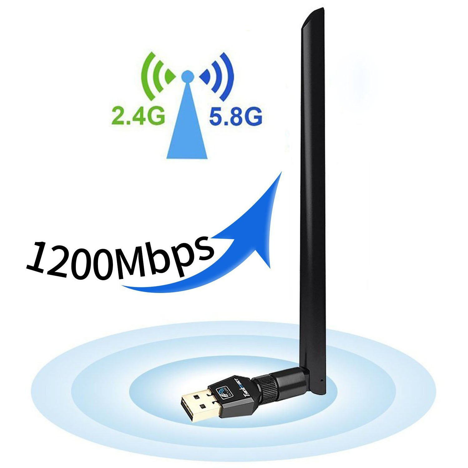 1200Mbps Wireless USB WiFi Adapter,USB WiFi Network Adapter Dual Band USB 3.0 5dBi 2.4G/5.8G Win XP 7/8 / 8.1/10 Mac OS X 10.7-10.12.4 Linux