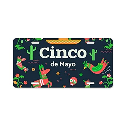Universal Cinco De Mayo Background With Traditional Elements In Flat Style Design License Plate Frame
