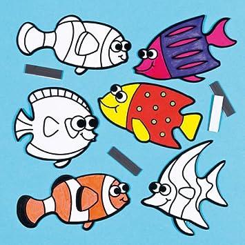 SamtMagnete Tropische Fische zum Ausmalen fr Kinder  als