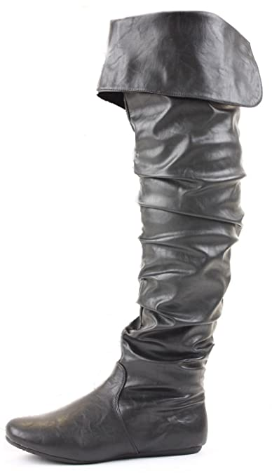 Ladies Flat Winter Biker Style Low Heel Over The Knee Thigh High Pull on Knee  Boots Size with shoeFashionista boutique bagAmazonukShoes  Bags