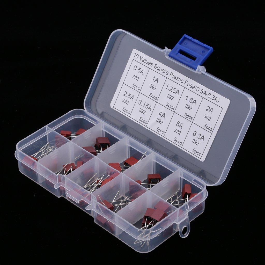 Tenlacum 50 piezas 0.5A 1A 1.25A 1.6A 2A 2.5A 3.15A 4A 5A 6.3A Fusibles para LCD TV Power Board