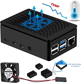Black Blue Grey Aluminum Alloy Protective Case with Cooling Fan Raspberry Pi 3