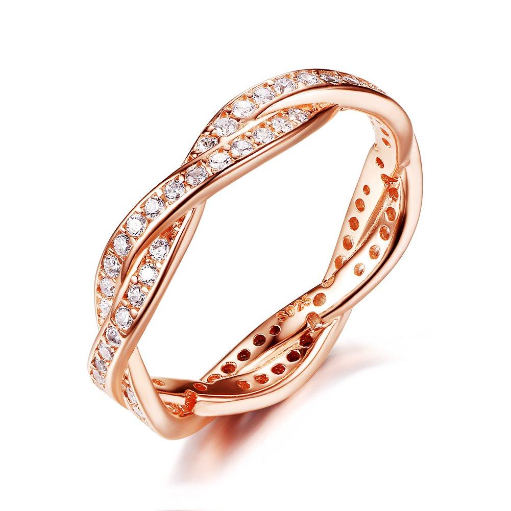 Presentski 925 Sterling Silber Promise Ring mit CZ, Rose vergoldet A-RGJZ
